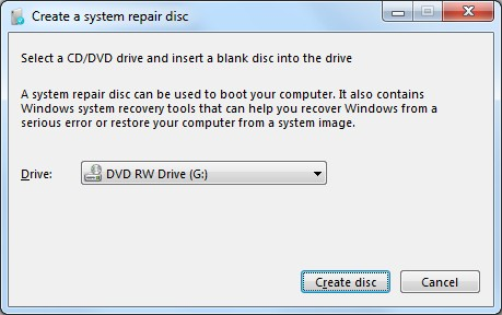 Como crear un disco de recuperación en Windows 7