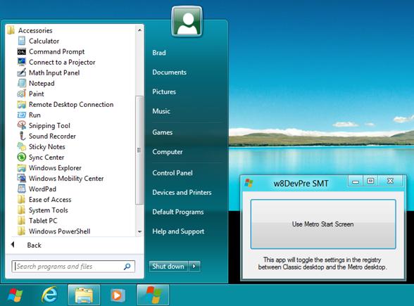 Descargar menu de Windows 8 Start Menu toggle