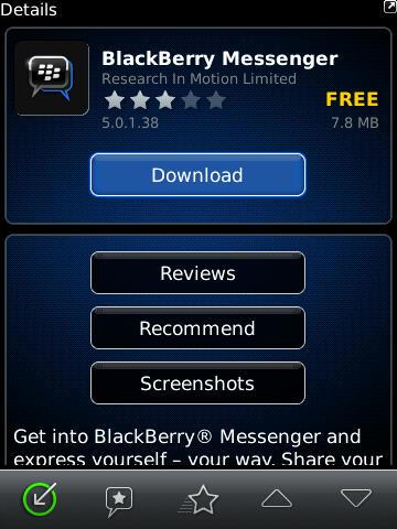 Descargar actualizacion BlackBerry Messenger 5.0.1.38