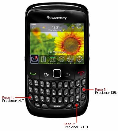 Como reiniciar el Blackberry sin sacar la bateria