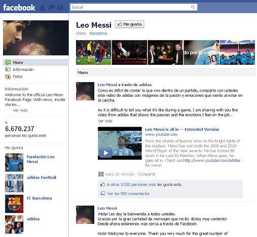 Lionel Messi tiene su Facebook