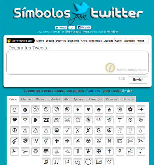 Simbolos para el Twitter en SimbolosTwitter.com