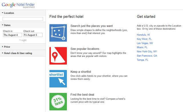 Buscar Hoteles con Google Hotel Finder