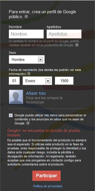 Registrarse en Google plus | Crear una cuenta en Google+
