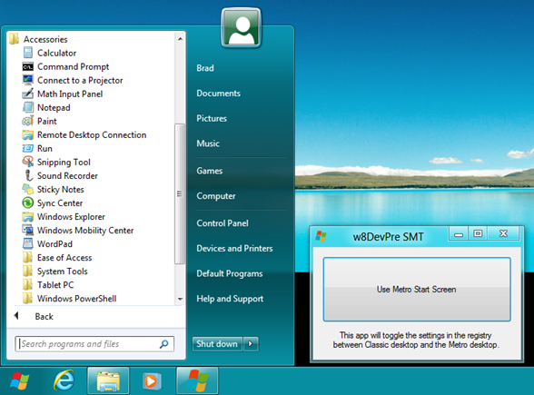 Descargar menu de Windows 8 Start Menu toggle