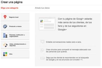 Como se crea una pagina en Google Plus (tutorial)