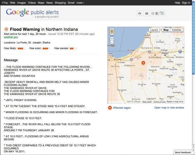 Catástrofes naturales en vivo con Google Public Alerts