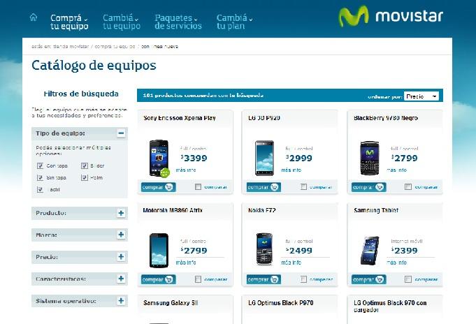 Catálogo Movistar Argentina de celulares y Smartphones 2012