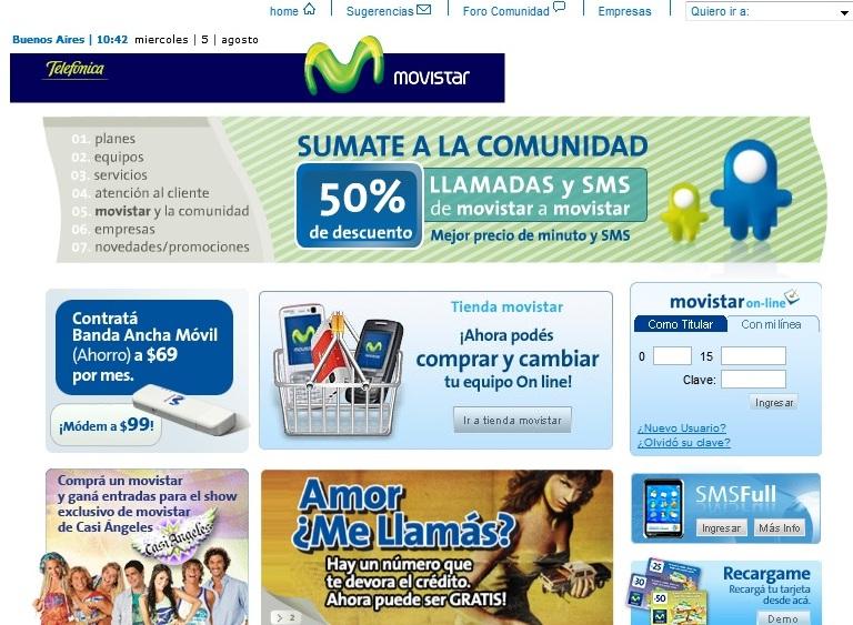 Movistar Argentina, tramites online en www.movistar.com.ar
