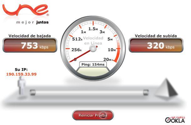 UNE: Medidor de velocidad de conexión a internet