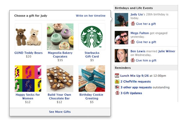 ¿Enviar regalos reales desde Facebook?