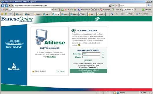 Home banking banesco online desarrollo actual for Consulta de saldo cantv