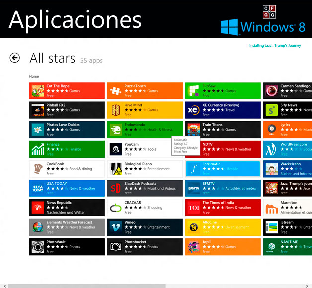 Instalar programas en Windows 8 de Windws Store