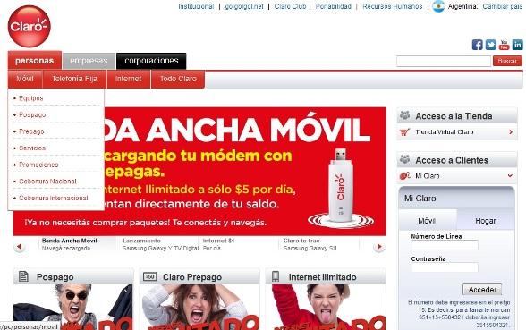 Claro Argentina, trámites online en www.claro.com.ar