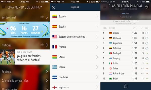 Aplicación del Mundial Brasil 2014 para smartphones