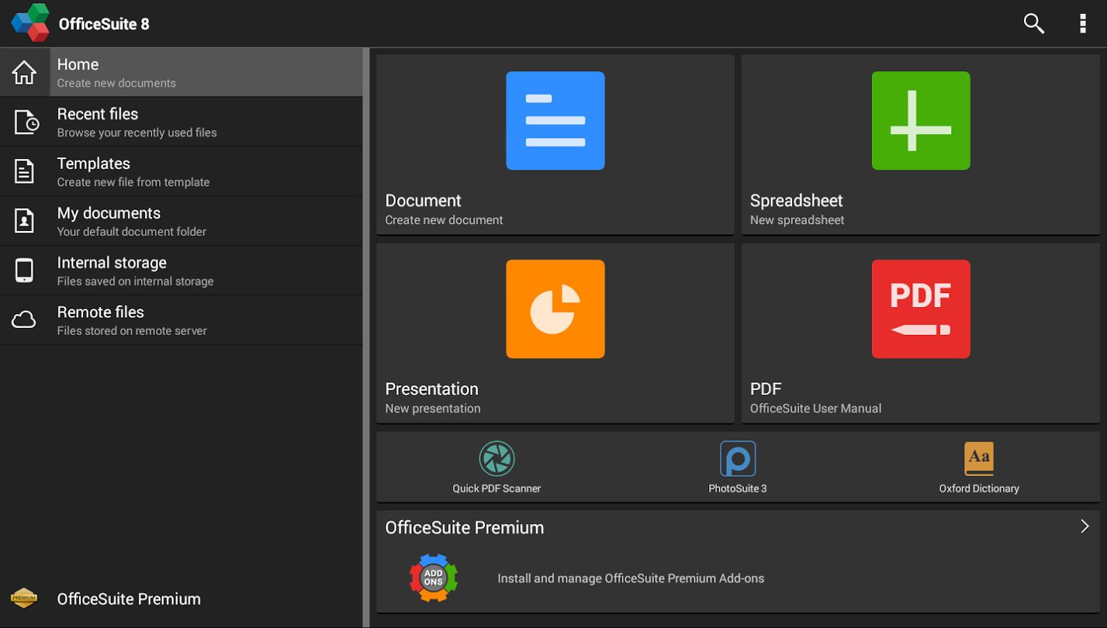 App de Android para crear, editar y enviar archivos Office